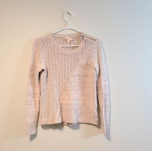 REBECCA TAYLOR Wool Blend Knit Sweater Cream Small